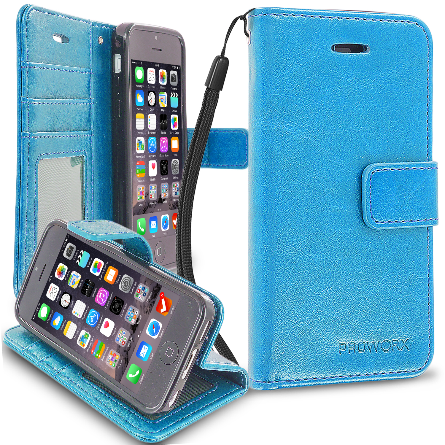 Apple iPhone 5C Baby Blue ProWorx Wallet Case Luxury PU Leather Case Cover With Card Slots & Stand
