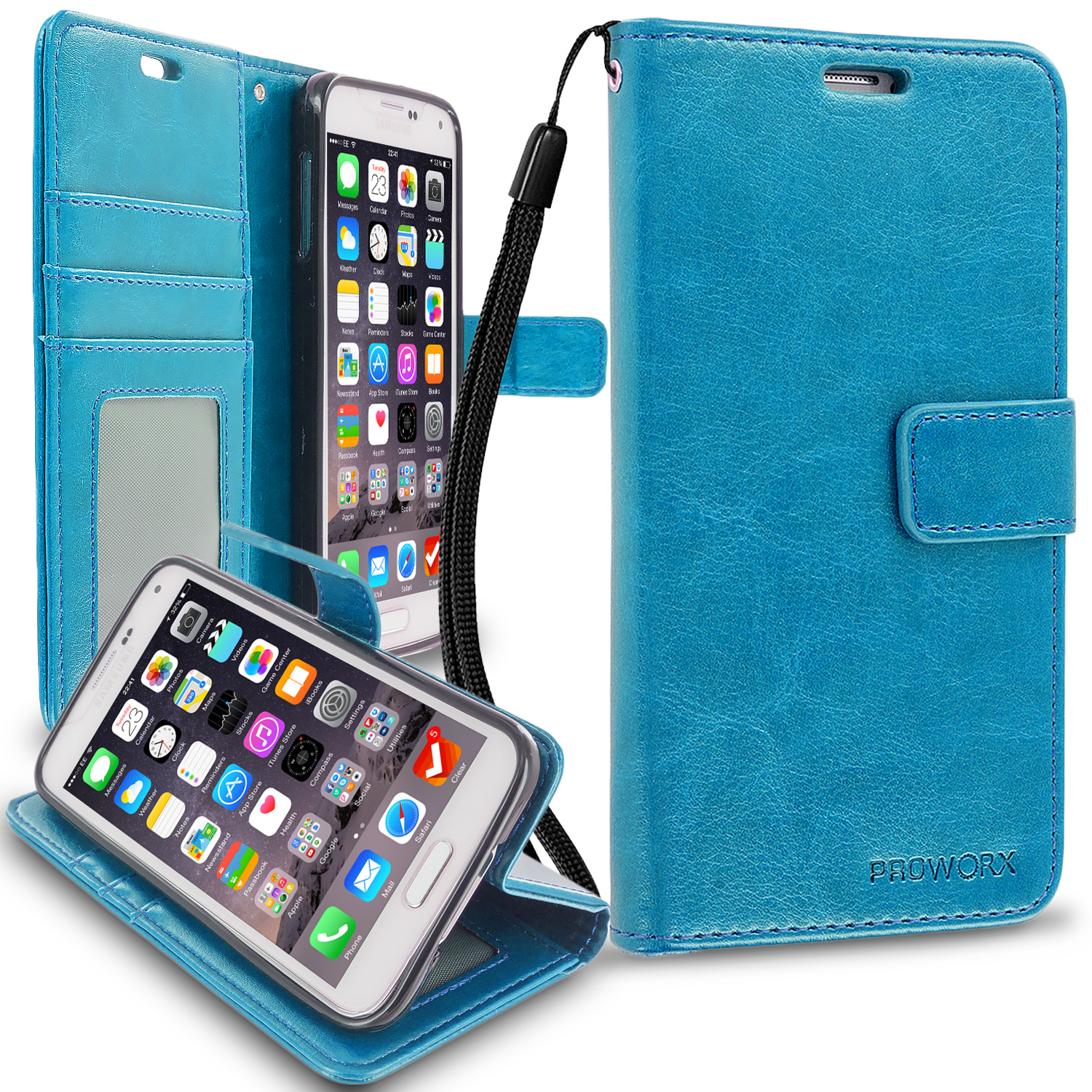 Samsung Galaxy S5 Baby Blue ProWorx Wallet Case Luxury PU Leather Case Cover With Card Slots & Stand