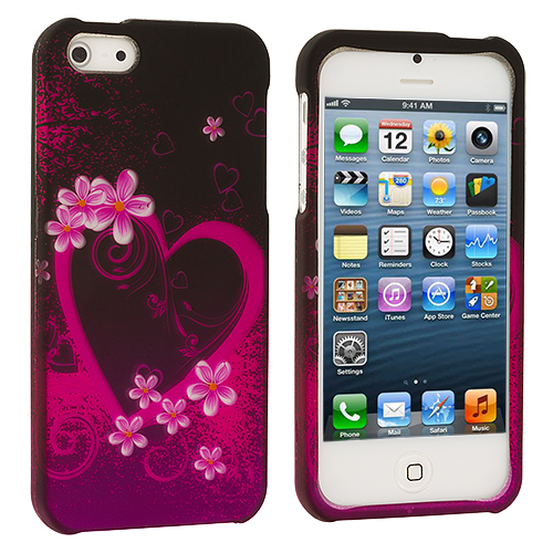 Apple iPhone 5/5S/SE Purple Love Hard Rubberized Design Case Cover