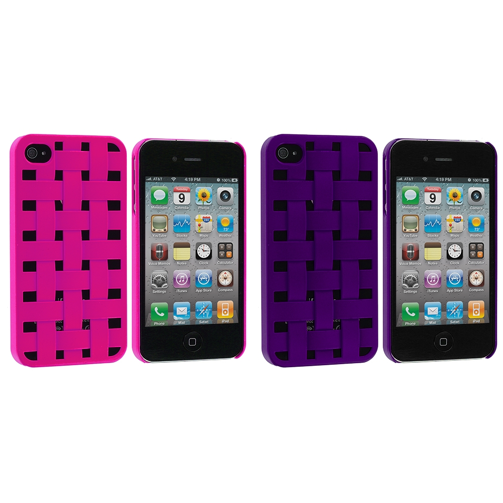 Apple iPhone 4 / 4S 2 in 1 Combo Bundle Pack - Weave Pink Purple Hard Rubberized Back Cover Case