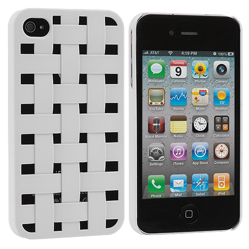 Apple iPhone 4 White Weave Hard Rubberized Back Cover Case
