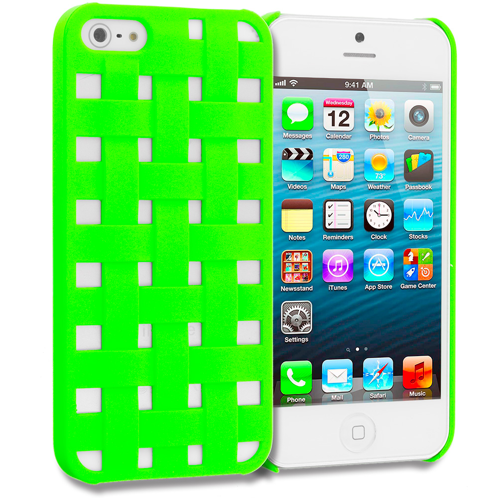 Apple iPhone 5/5S/SE Combo Pack : Hot Pink Handwoven Hard Rubberized Back Cover Case : Color Neon Green Handwoven