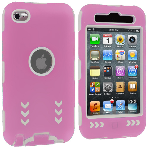 Apple iPod Touch 4th Generation Pink / White Arrows Hybrid Hard/Soft Case Cover