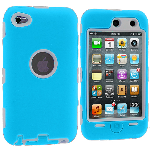 Apple iPod Touch 4th Generation Baby Blue / White Deluxe Hybrid Deluxe Hard/Soft Case Cover