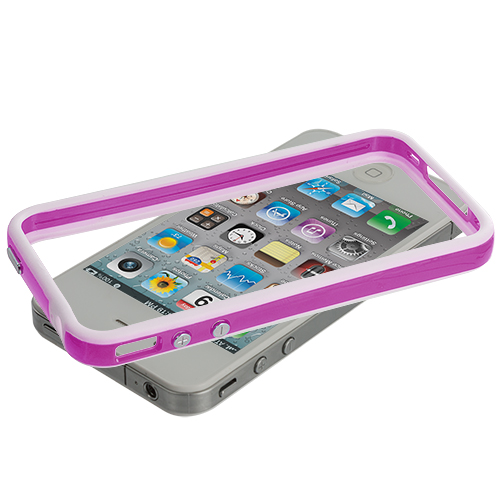 Apple iPhone 4 / 4S White / Hot Pink TPU Bumper with Metal Buttons