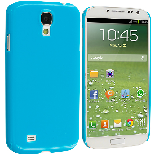 Samsung Galaxy S4 2 in 1 Combo Bundle Pack - Clear Blue Crystal Hard Back Cover Case : Color Blue Solid