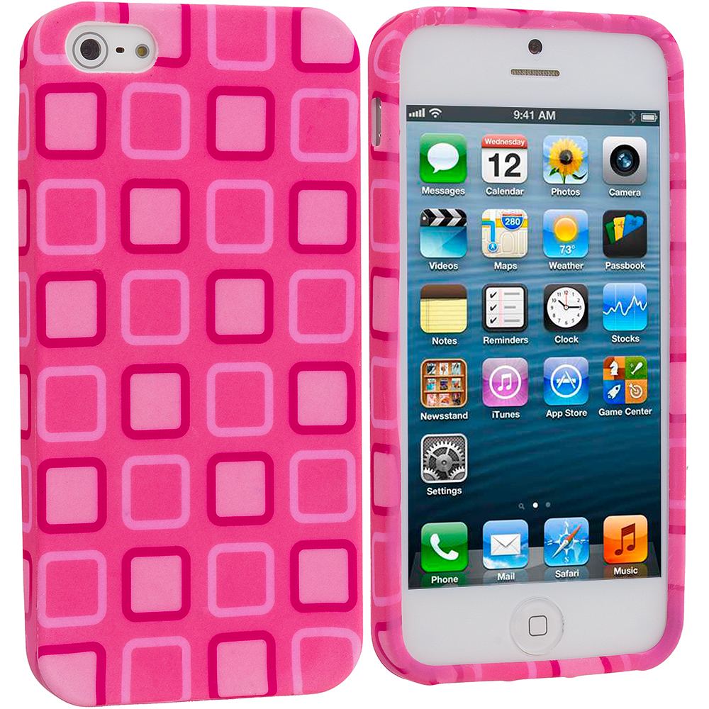 Apple iPhone 5/5S/SE Combo Pack : Baby Blue Square TPU Design Soft Case Cover : Color Pink Squares