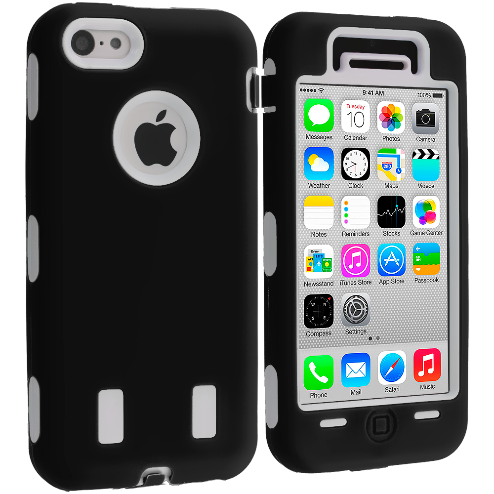 Apple iPhone 5C Black / White Hybrid Deluxe Hard/Soft Case Cover