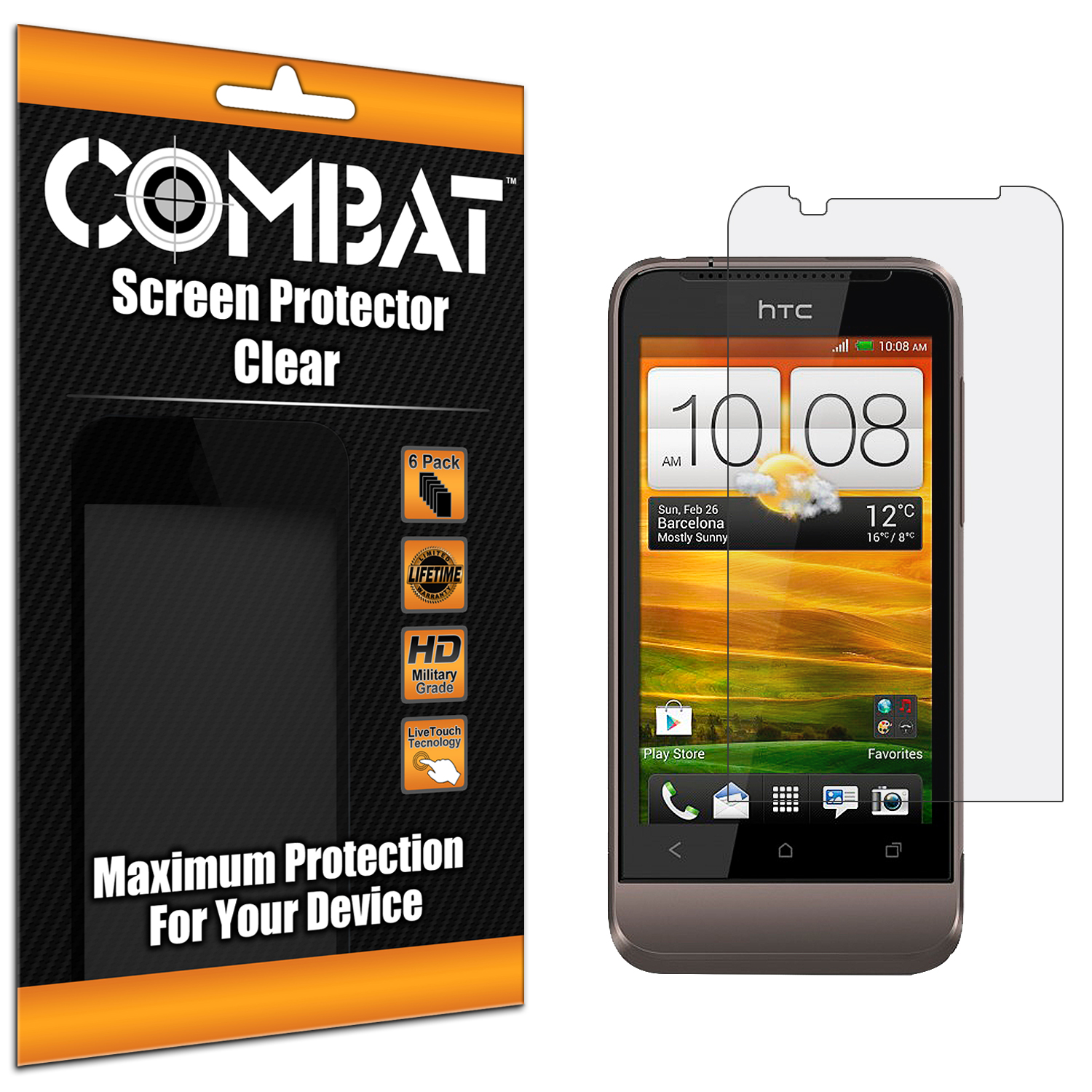 HTC One V Combat 6 Pack HD Clear Screen Protector