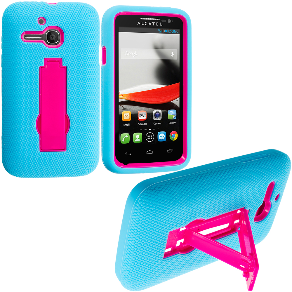 Alcatel One Touch Evolve 5020T Baby Blue / Hot Pink Hybrid Heavy Duty Hard/Soft Case Cover with Stand