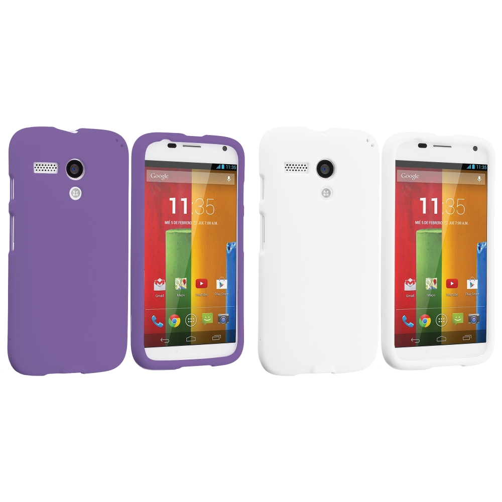 Motorola Moto G 2 in 1 Combo Bundle Pack - Purple White Hard Rubberized Case Cover