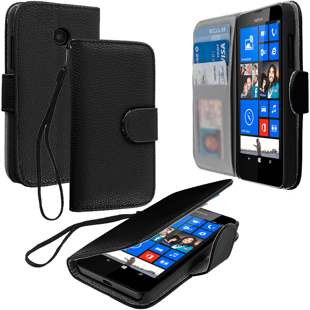 Nokia Lumia 520 Black Leather Wallet Pouch Case Cover with Slots