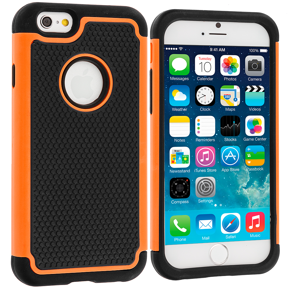 Apple iPhone 6 6S (4.7) Black / Orange Hybrid Rugged Hard/Soft Case Cover