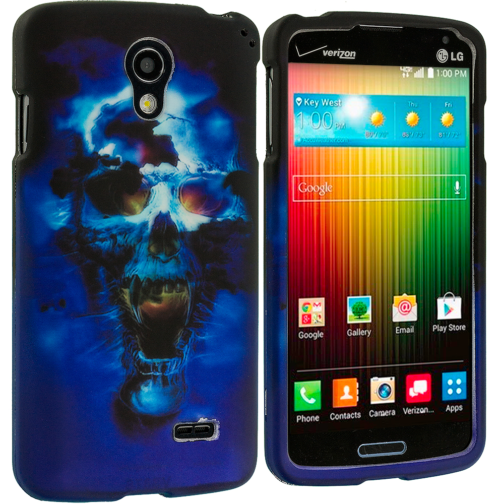 LG Lucid 3 VS876 Blue Skulls 2D Hard Rubberized Design Case Cover