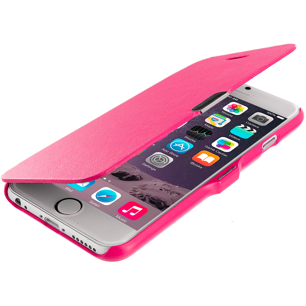 Apple iPhone 6 6S (4.7) 4 in 1 Combo Bundle Pack - Magnetic Wallet Case Cover Pouch : Color Hot Pink
