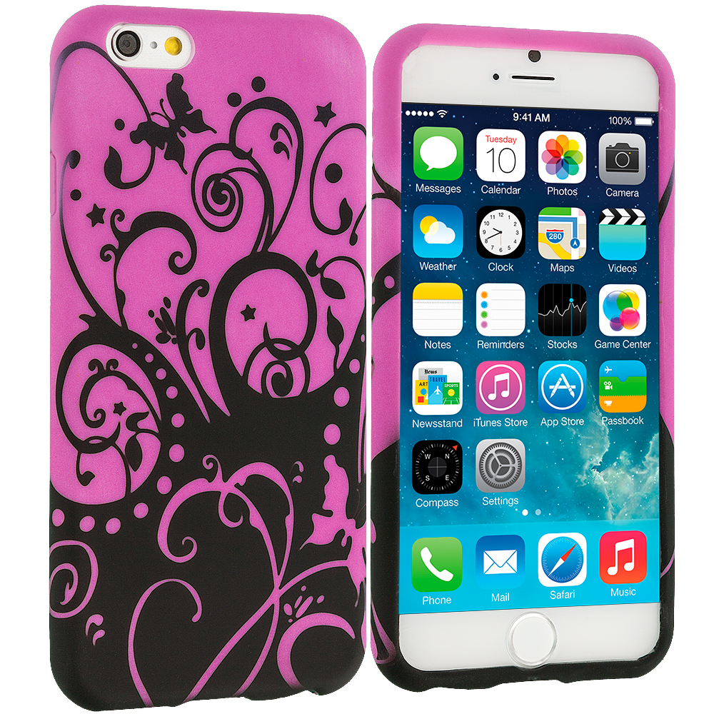 Apple iPhone 6 Plus 6S Plus (5.5) Black Purple Swirl TPU Design Soft Rubber Case Cover