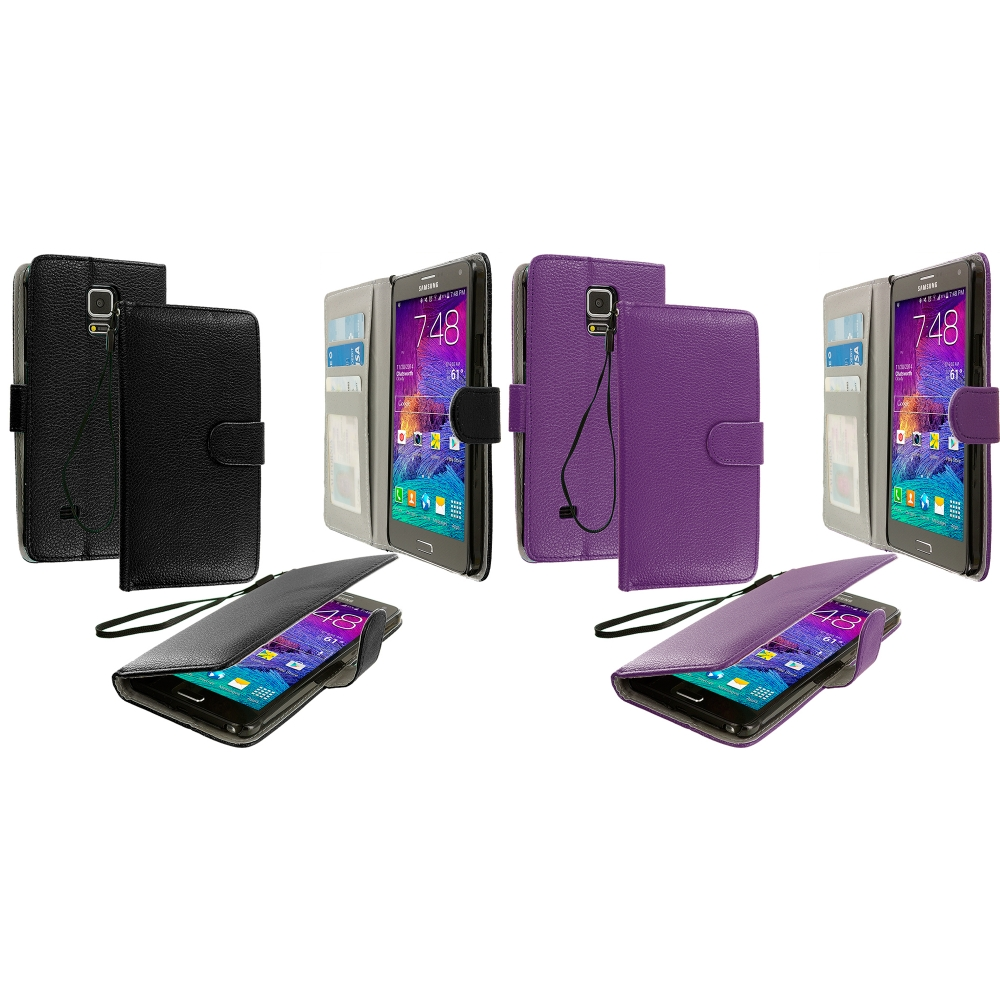 Samsung Galaxy Note 4 2 in 1 Combo Bundle Pack - Black Purple Leather Wallet Pouch Case Cover with Slots
