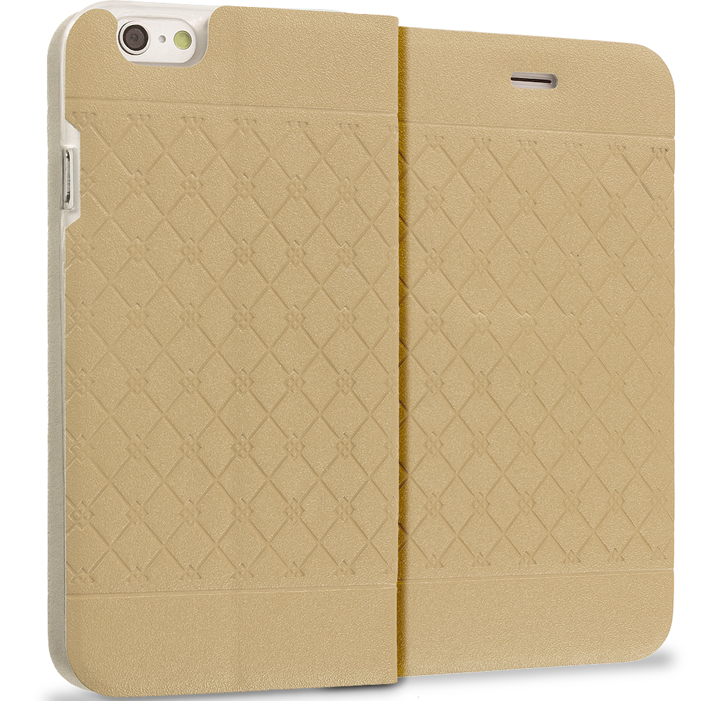 Apple iPhone 6 6S (4.7) Gold Slim Wallet Plaid Luxury Design Flip Case Cover