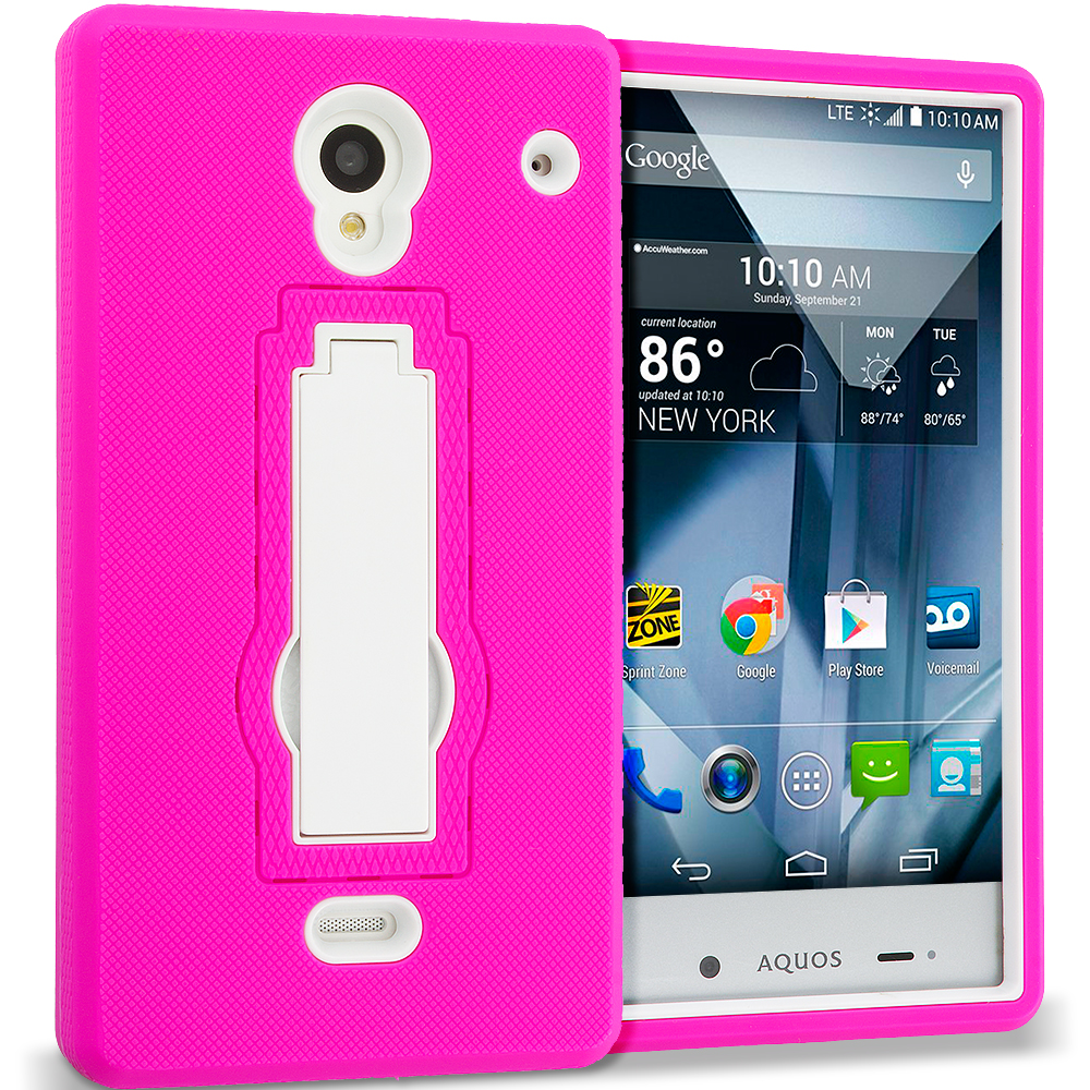 Sharp Aquos Crystal Hot Pink / White Hybrid Heavy Duty Hard Soft Case Cover with Kickstand