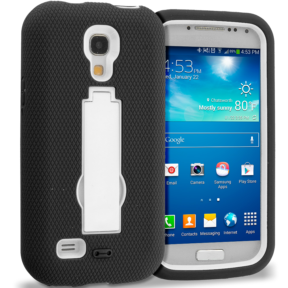 Samsung Galaxy S4 Mini i9190 Black / White Hybrid Heavy Duty Hard Soft Case Cover with Kickstand