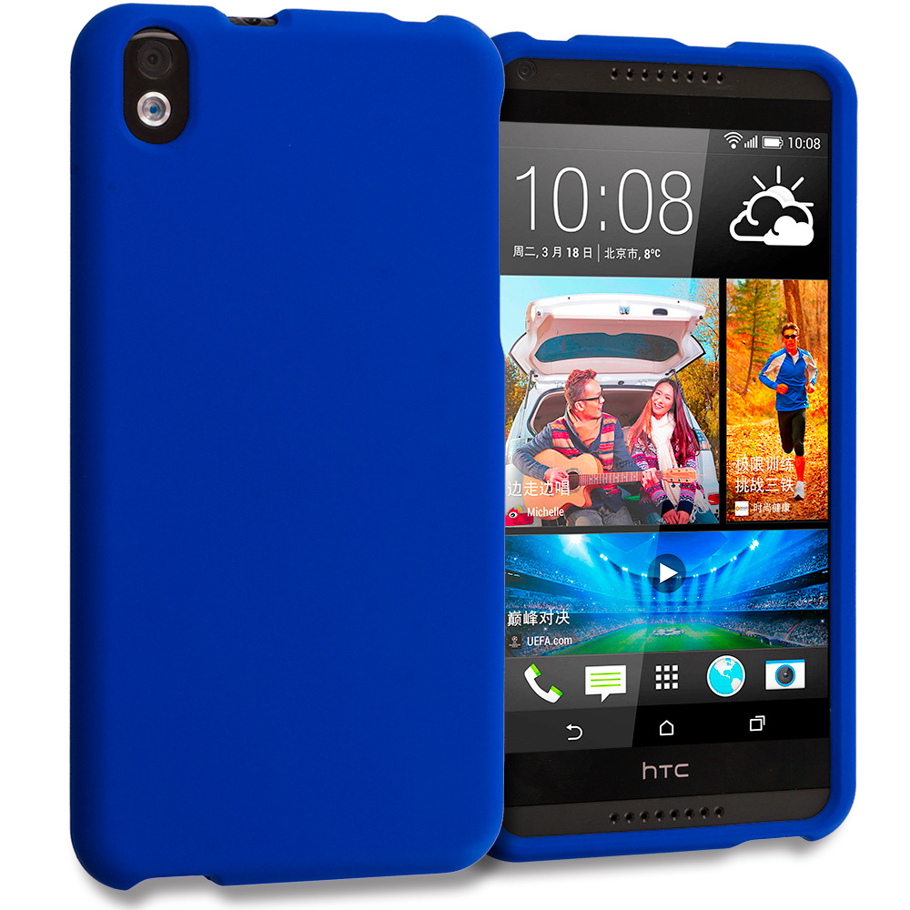HTC Desire 816 Blue Hard Rubberized Case Cover