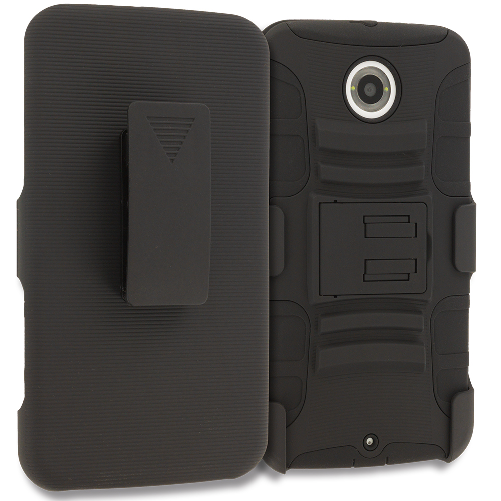 Motorola Google Nexus 6 Black Hybrid Heavy Duty Rugged Case Cover with Belt Clip Holster