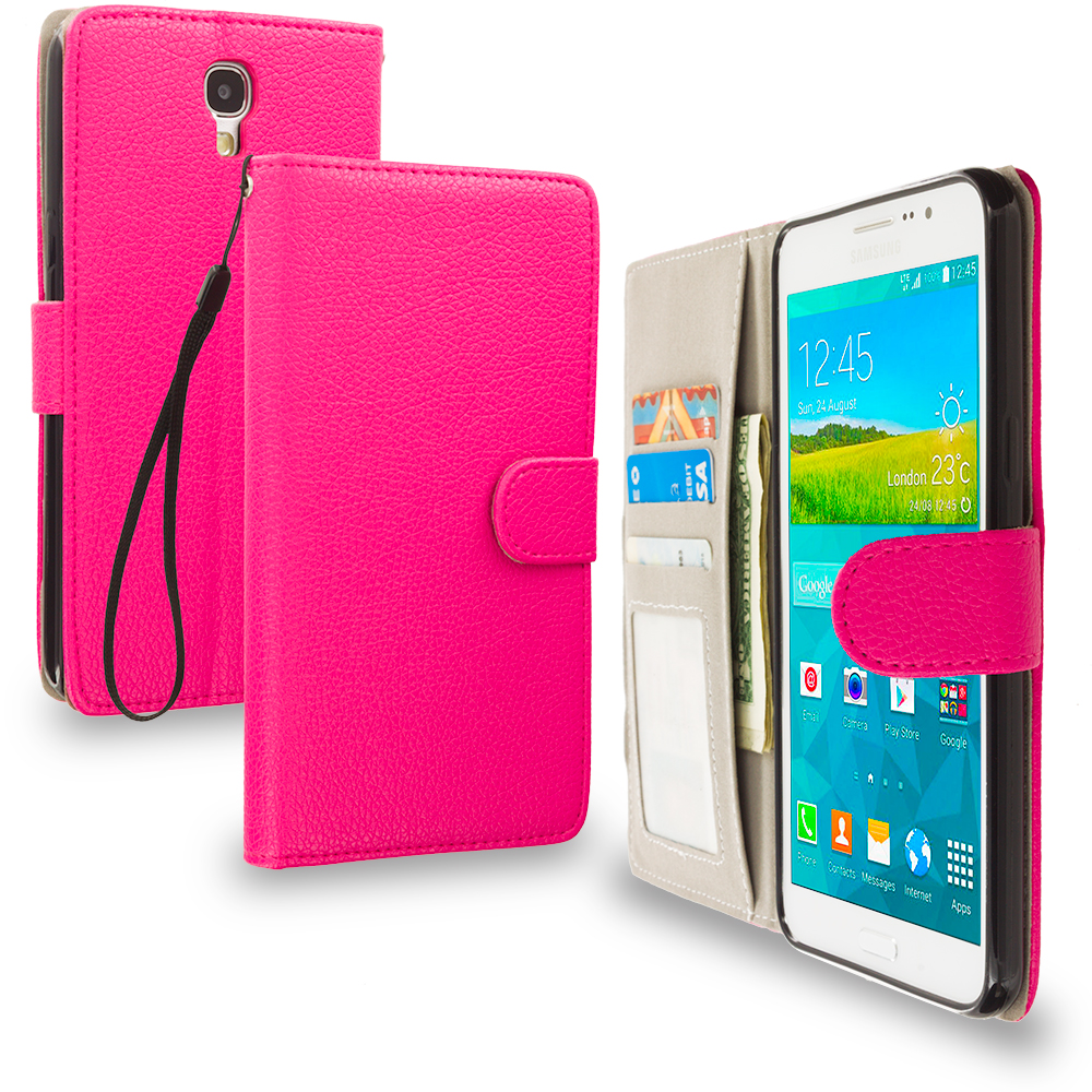 Samsung Galaxy Mega 2 Combo Pack : Black Leather Wallet Pouch Case Cover with Slots : Color Hot Pink