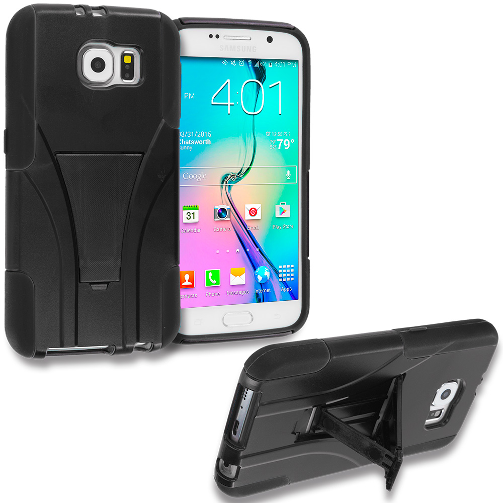Samsung Galaxy S6 Black Hybrid Hard Soft Shockproof Case Cover with Kickstand