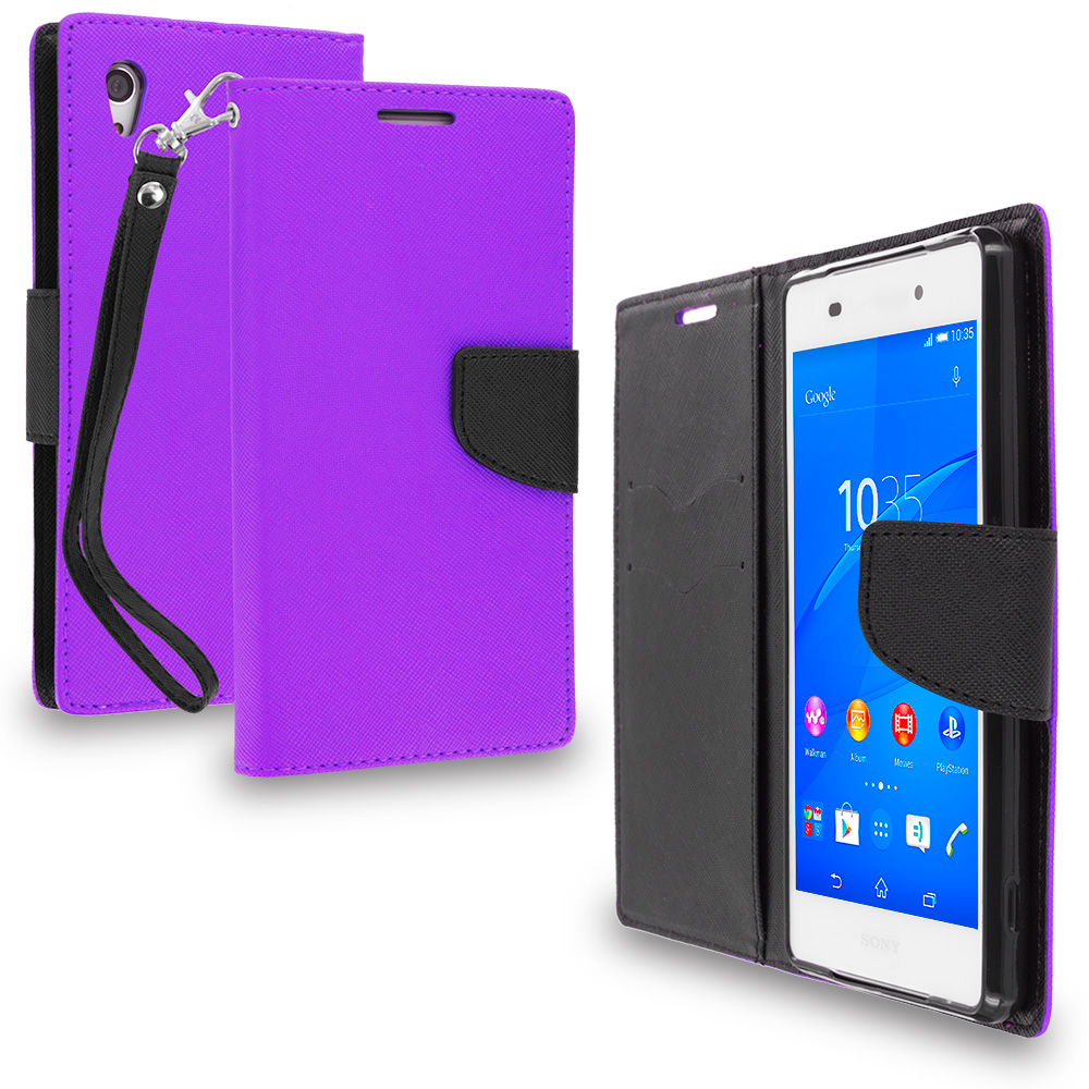Sony Xperia Z3v Verizon Purple / Black Leather Flip Wallet Pouch TPU Case Cover with ID Card Slots