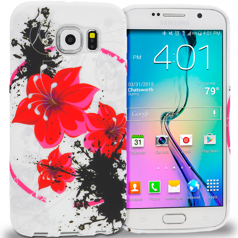 Samsung Galaxy S6 Red Black Flower TPU Design Soft Rubber Case Cover