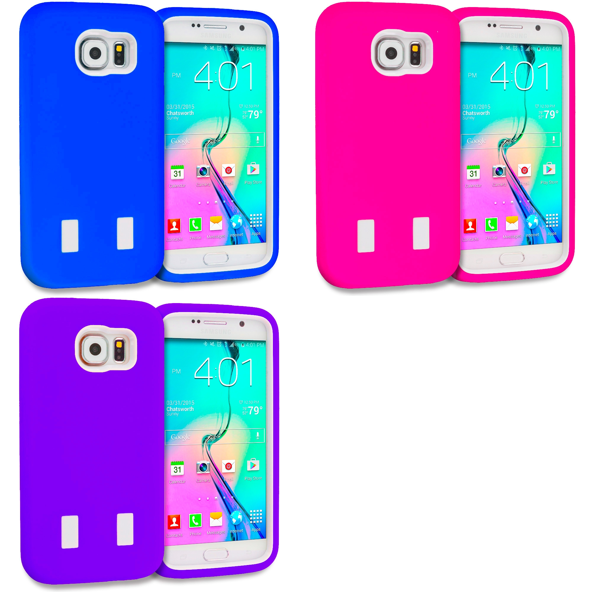 Samsung Galaxy S6 Combo Pack : Blue / White Hybrid Deluxe Hard/Soft Case Cover