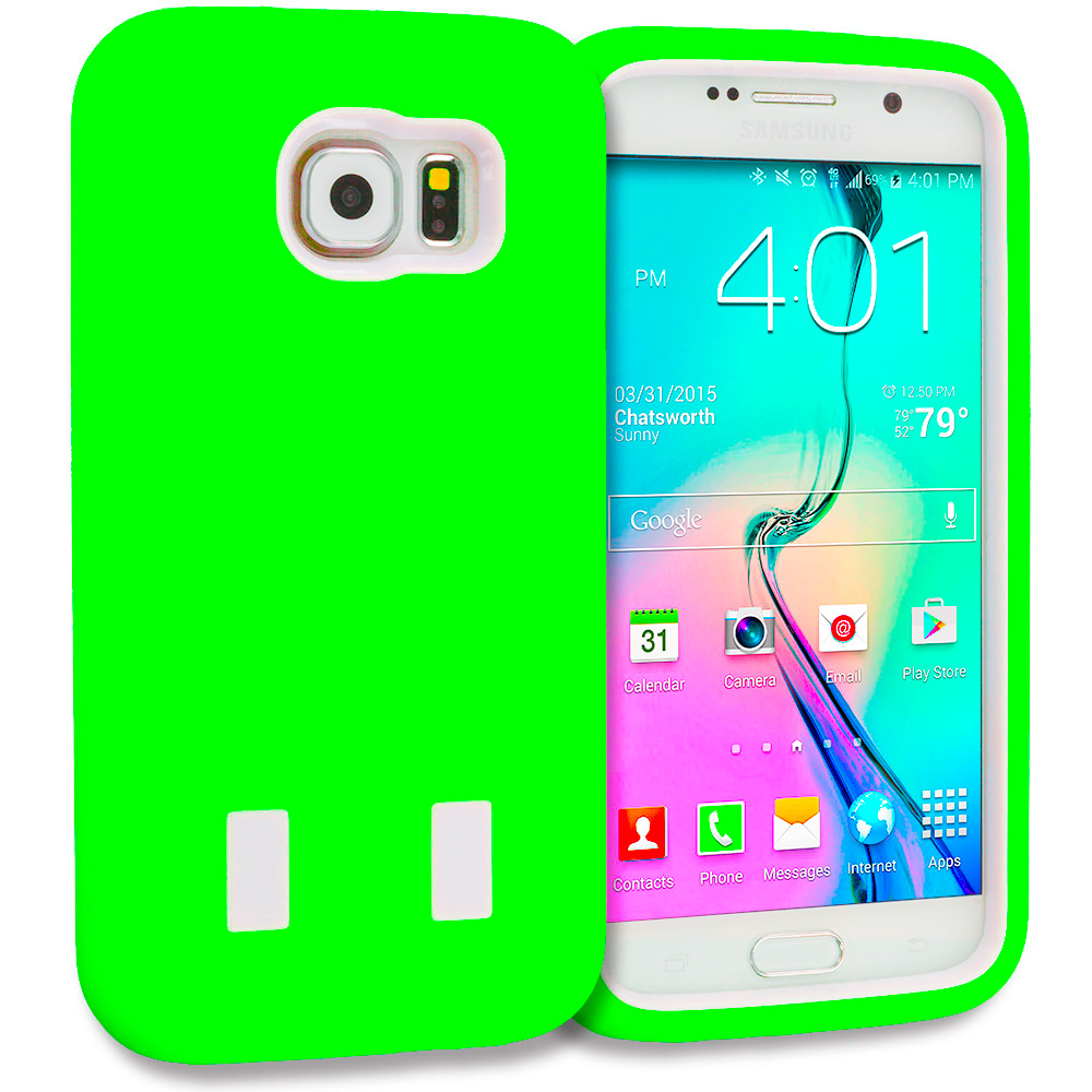 Samsung Galaxy S6 Neon Green / White Hybrid Deluxe Hard/Soft Case Cover