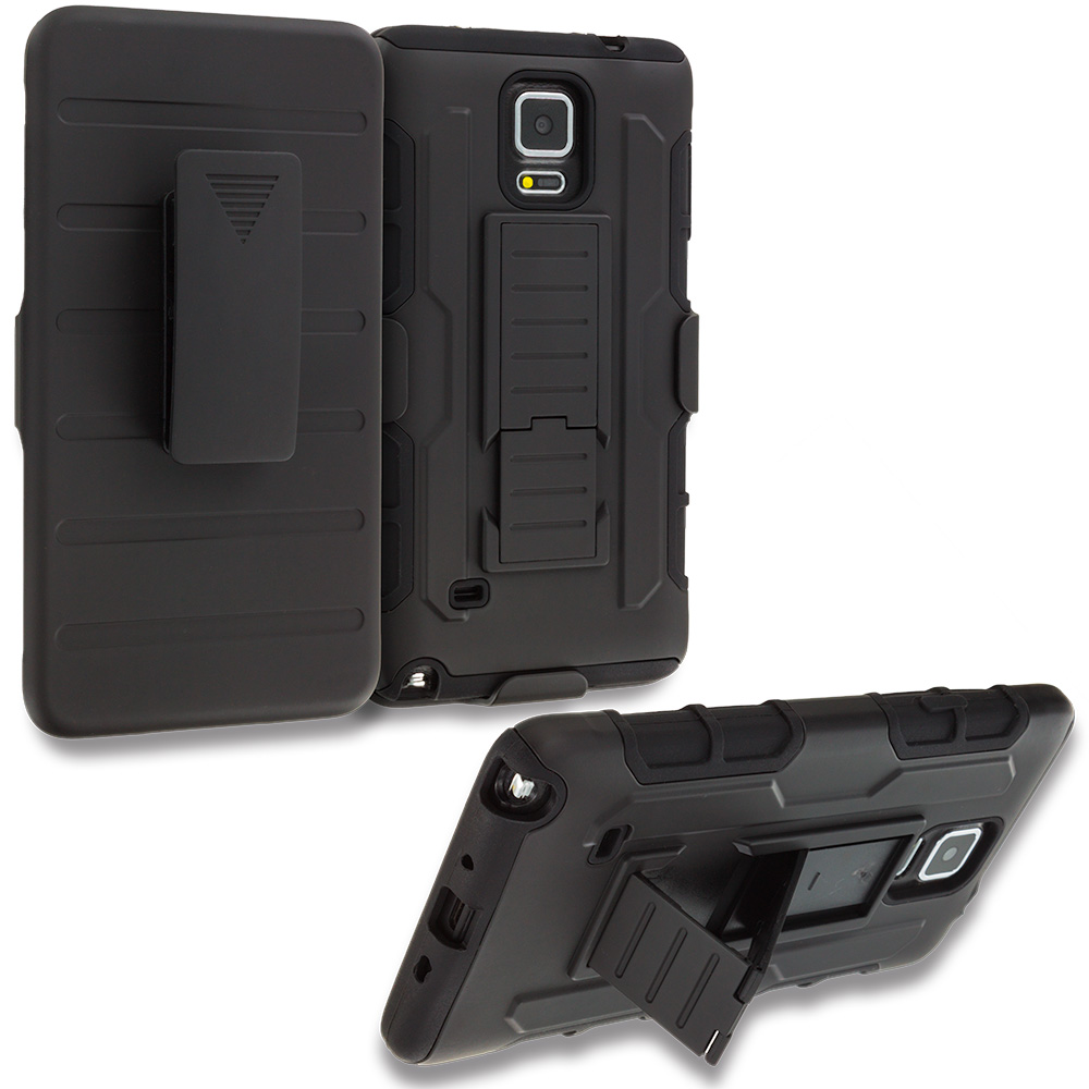 Samsung Galaxy Note 4 Black Hybrid Rugged Robot Armor Heavy Duty Case Cover with Belt Clip Holster