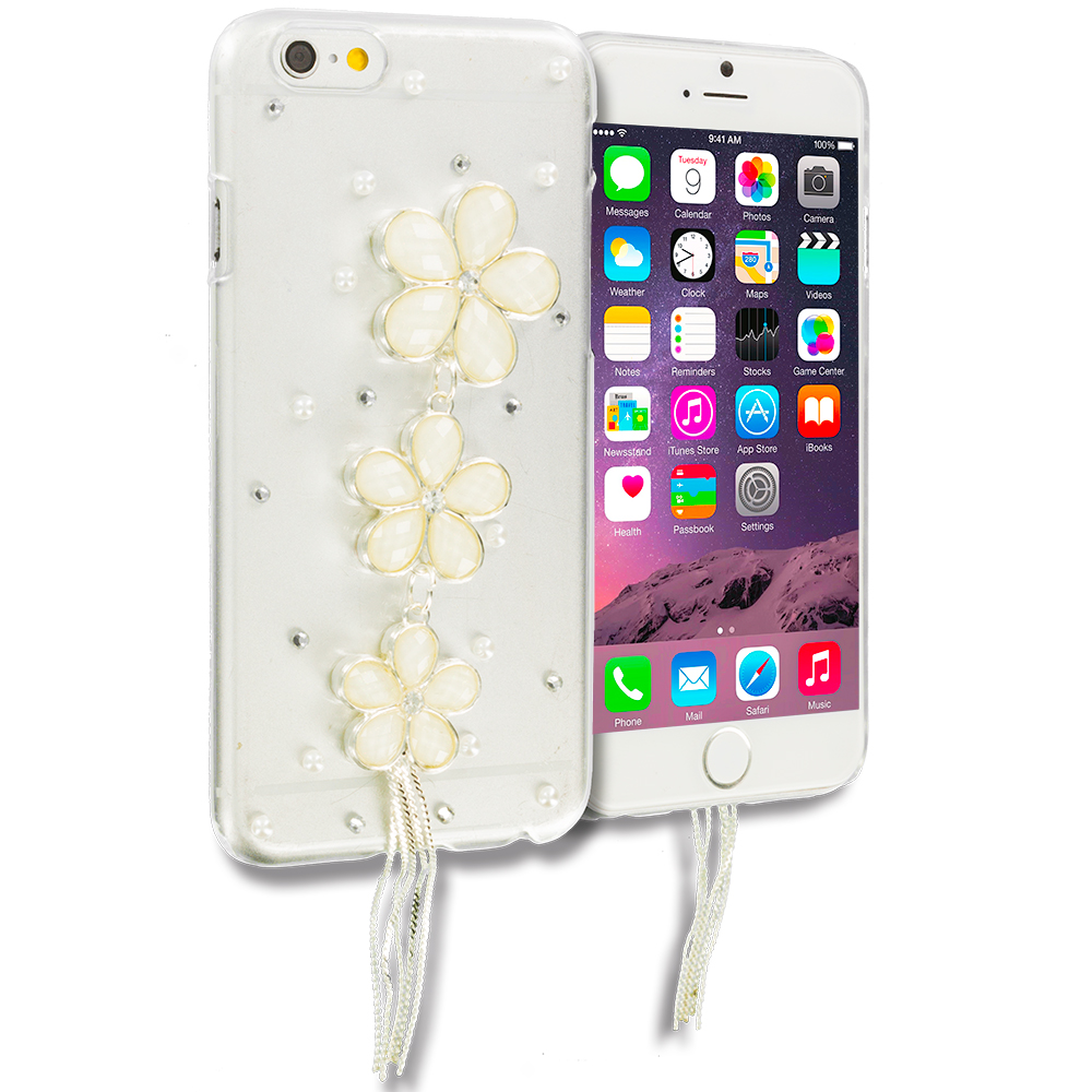 Apple iPhone 6 6S (4.7) Triple Flower Bling Rhinestone Case Cover