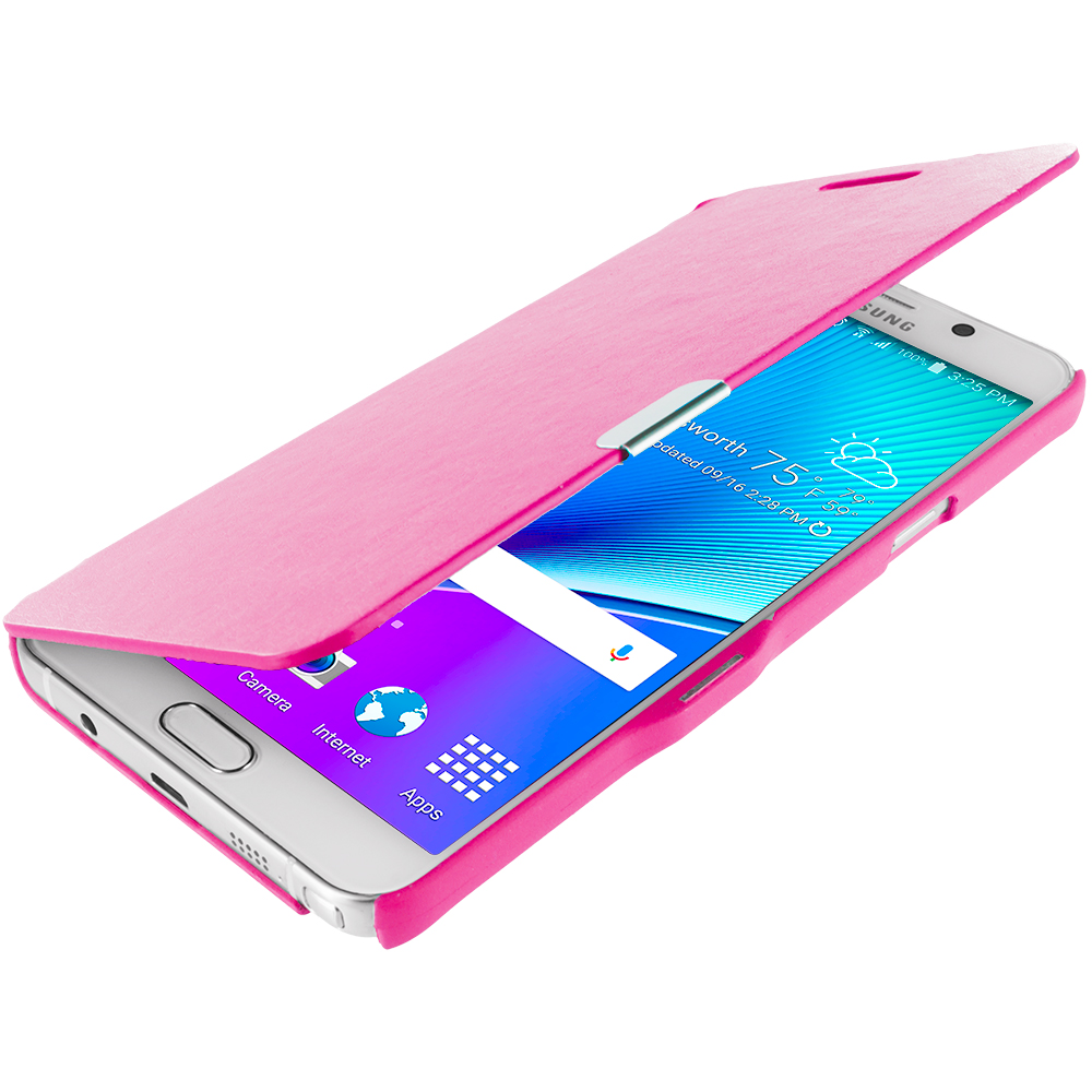 Samsung Galaxy Note 5 Hot Pink Magnetic Flip Wallet Case Cover Pouch