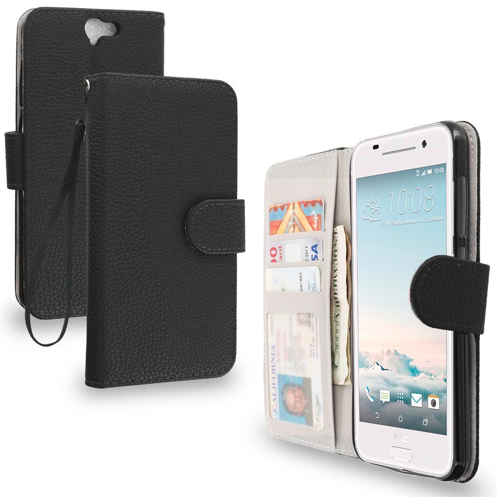 HTC Aero One A9 Black Leather Wallet Pouch Case Cover with Slots