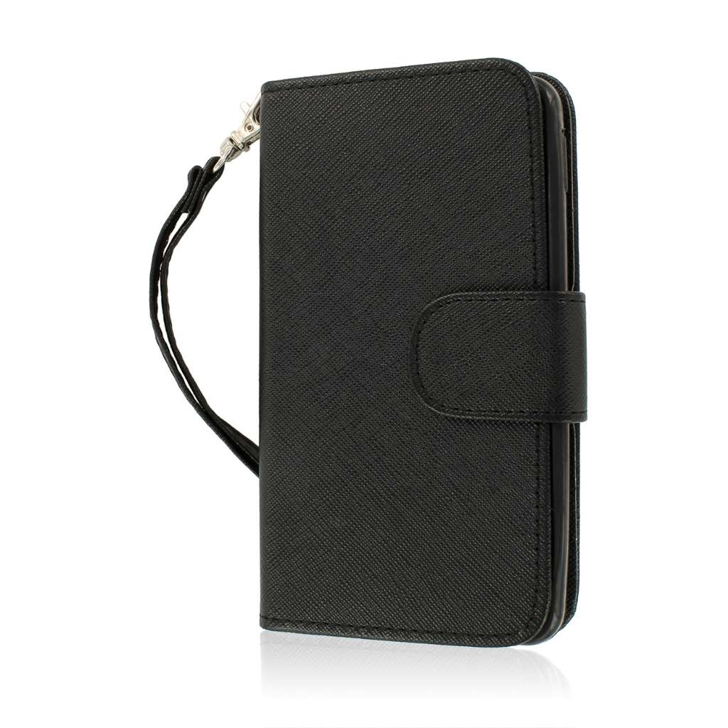 LG Optimus F6 - Black MPERO FLEX FLIP Wallet Case Cover