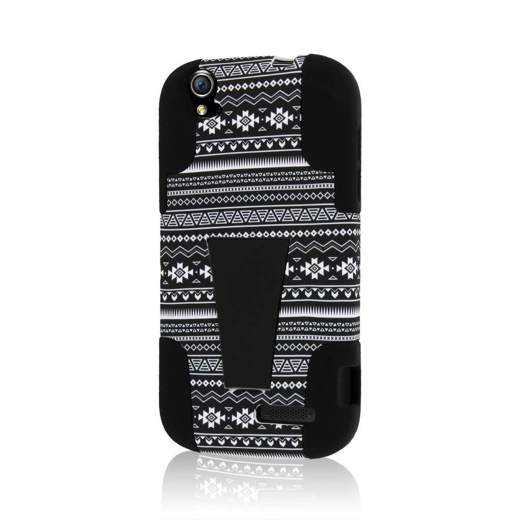 ZTE Grand X V970 - Black Aztec MPERO IMPACT X - Kickstand Case Cover