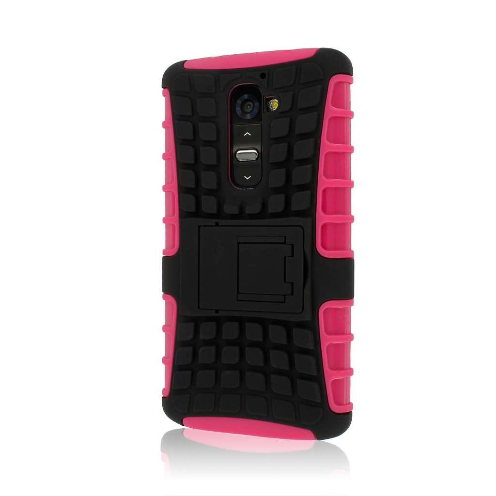 LG G2 D800 D801 LS980 - Black / Hot Pink MPERO IMPACT SR - Kickstand Case