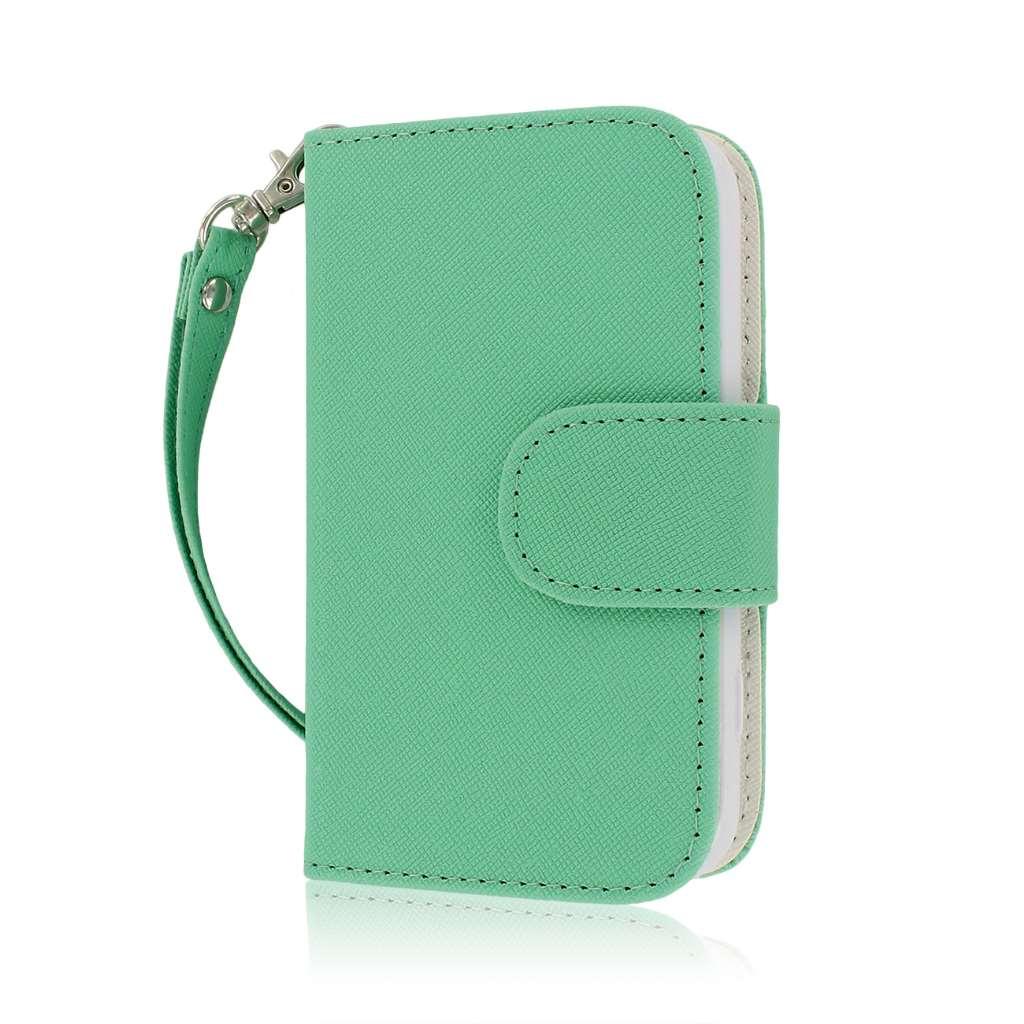 Samsung Galaxy Rush M830 - Mint / White MPERO FLEX FLIP Wallet Case Cover