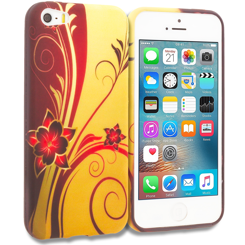 Apple iPhone 5/5S/SE Red Golden Flower TPU Design Soft Rubber Case Cover