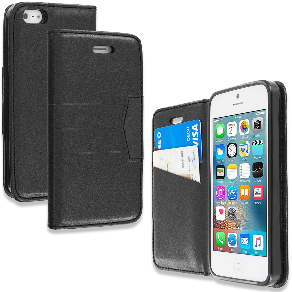 Apple iPhone 5/5S/SE Combo Pack : Black Wallet Flip Leather Pouch Case Cover with ID Card Slots : Color Black