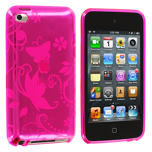 Apple iPod Touch 4th Generation Hot Pink Flower TPU Rubber Skin Case Cover