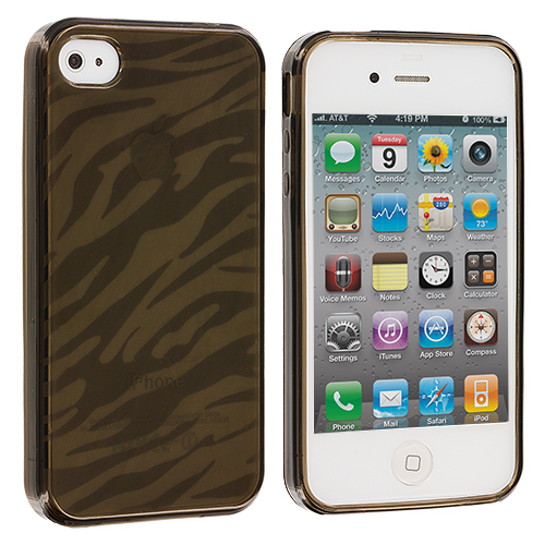 Apple iPhone 4 / 4S Smoke Zebra TPU Rubber Skin Case Cover