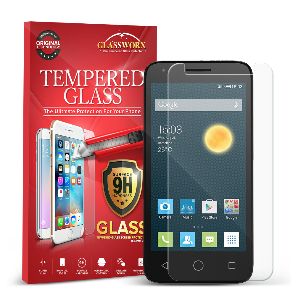 Alcatel Pixi 3 4.5 GlassWorX HD Clear Tempered Glass Screen Protector