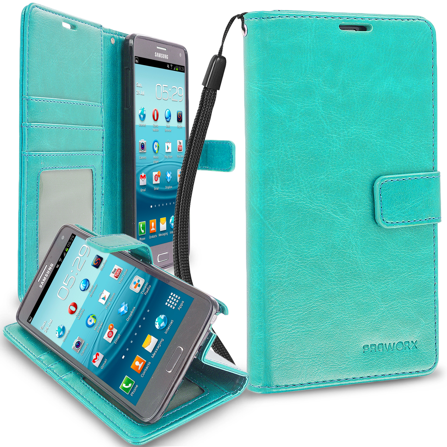 Samsung Galaxy Note 4 Mint Green ProWorx Wallet Case Luxury PU Leather Case Cover With Card Slots & Stand