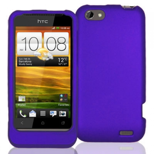 HTC One V Purple Hard Rubberized Case Cover