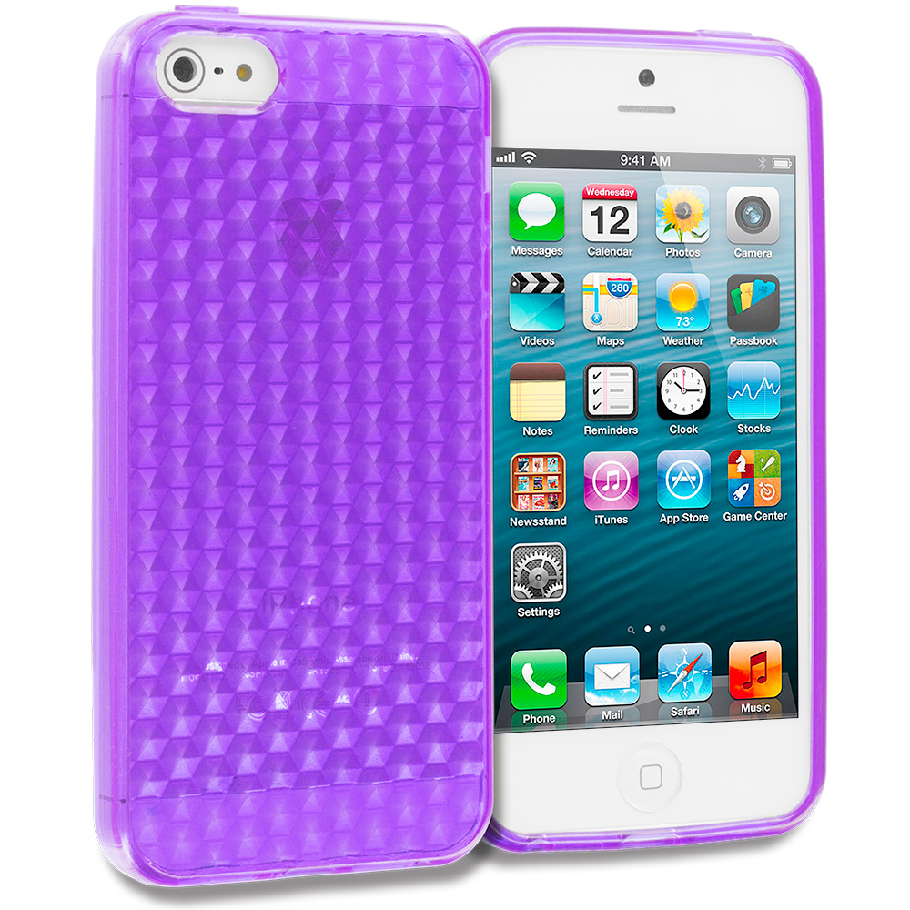 Apple iPhone 5 Purple Diamond TPU Rubber Skin Case Cover