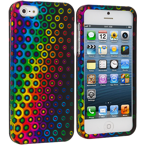 Apple iPhone 5 Rainbow Dots Hard Rubberized Design Case Cover