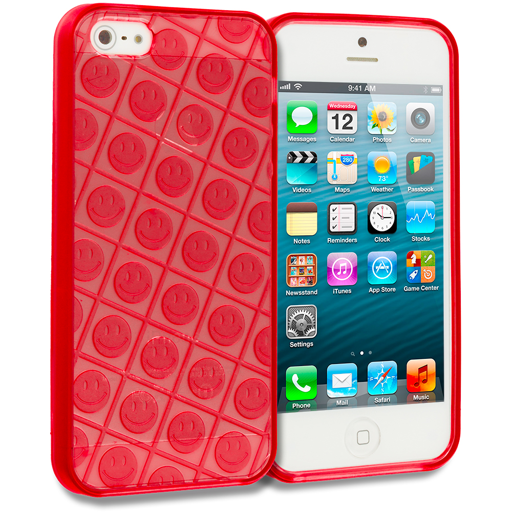 Apple iPhone 5/5S/SE Red Happy Face TPU Rubber Skin Case Cover